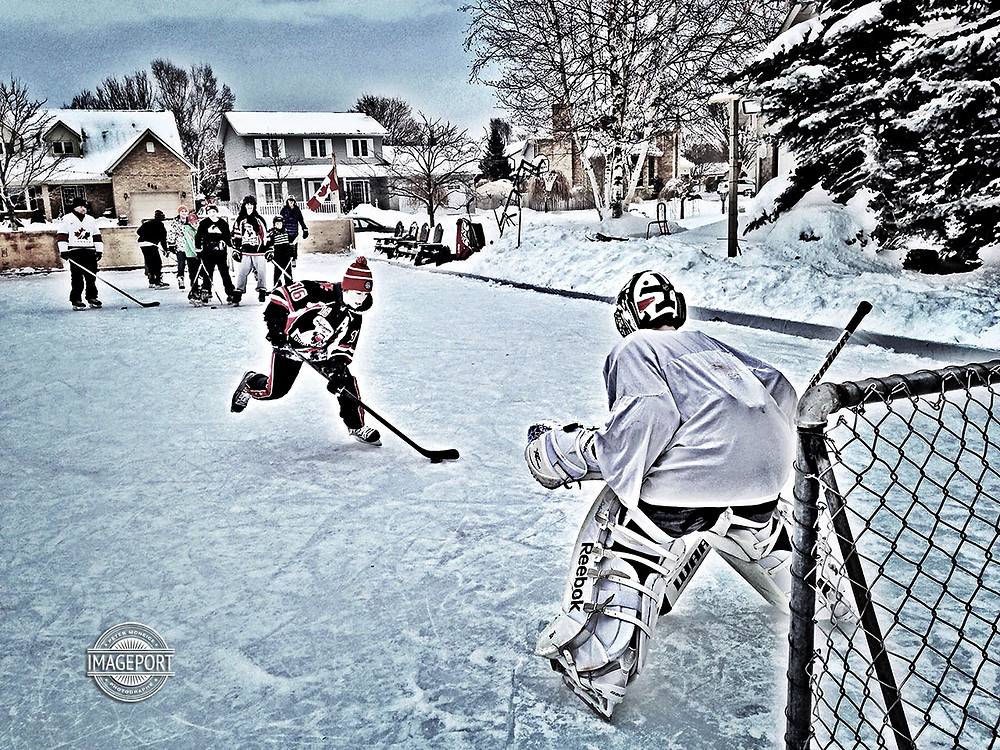 Outdoor Rink Hockey in Port Elgin, Ontario
