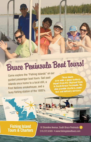 Bruce Peninsula Boat Tours Ad in Sauble Beach Booklet