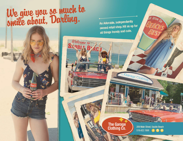 Garage Clothing Ad in Sauble Beach Booklet