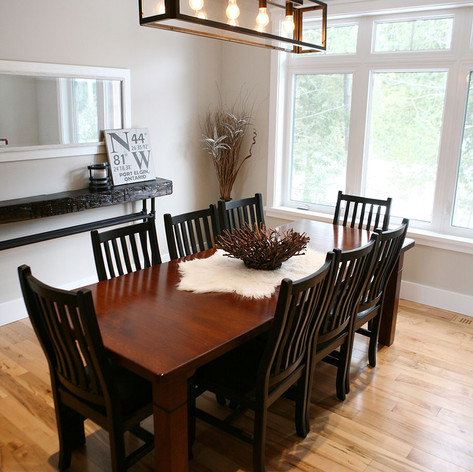 Dining space with bright windows in Bruce County