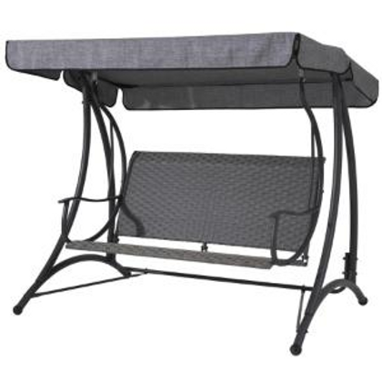 3-SEAT STEEL/WICKER SWING A-026