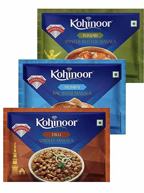 Kohinoor - Choley Masala-15g + Pav Bhaji Masala-15g + Paneer Butter Masala-15g