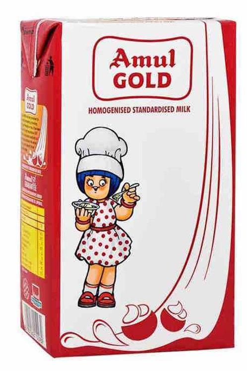 Amul Gold Standardised Milk, 1Ltr (Carton)