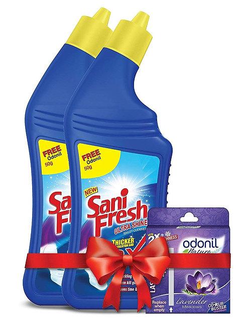 Sanifresh Ultrashine 1L ( 500 + 500) Toilet Cleaner + Odonil Block (50 g)