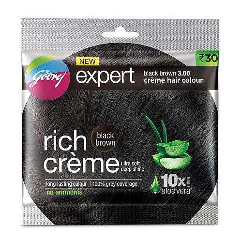 Godrej Expert Rich Creme Hair Colour Black Brown, 20g+20ml