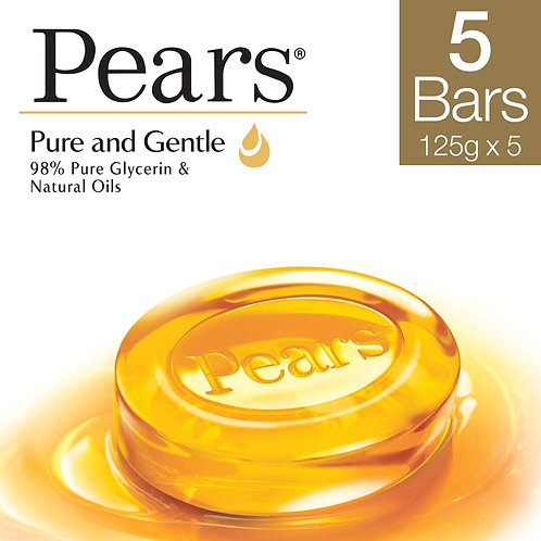 Pears Pure & Gentle Bathing Bar - 125g (Pack of 5)
