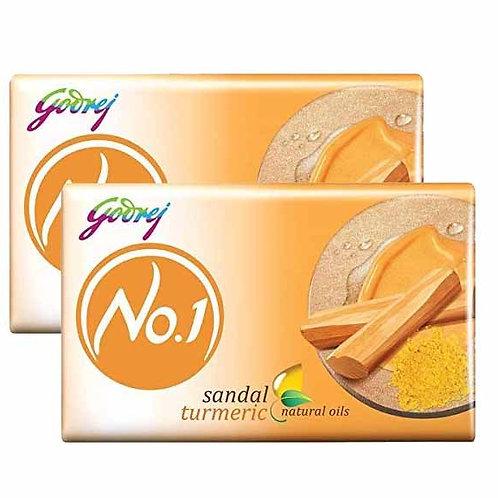 Godrej No.1 Bathing Soap - Sandal & Turmeric, 150g (1+1)