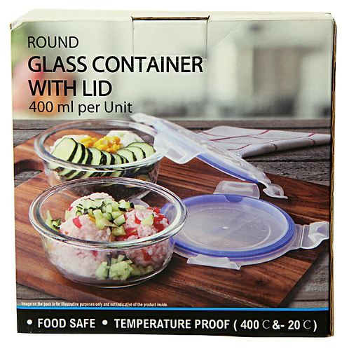 Imported - Round Glass Container with lid