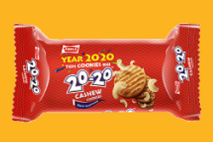 Parle 20-20 Cashew Cookies, (30g + 5g = 35g) 16% Extra