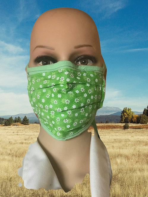 Green summer flower filter tie mask