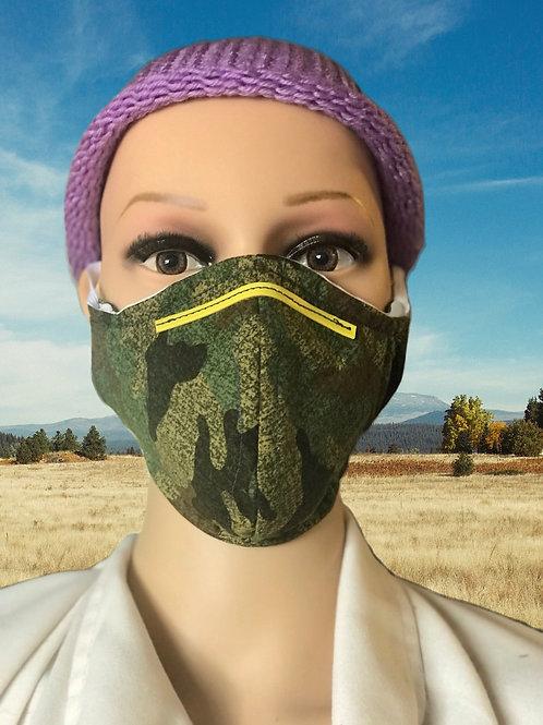 Bush Camo filtered face mask
