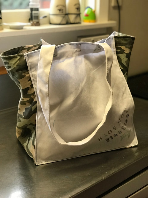 Camo & White BAGS NOT Plastic® grocery bag