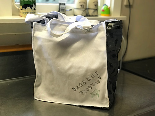 BAGS NOT Plastic® Black leaf Grocery bag