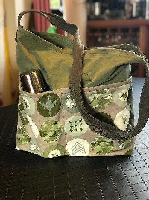 Military khaki tote