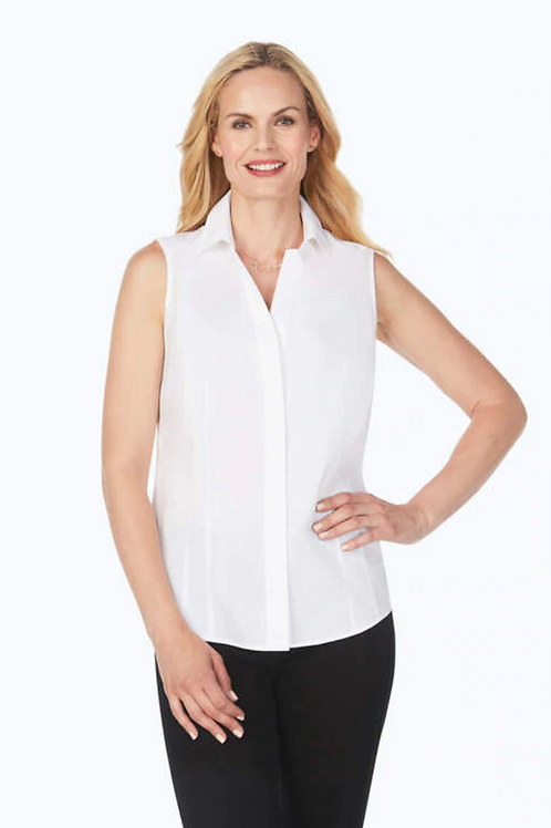 FOXCROFT Non-Iron Sleeveless Shirt, White