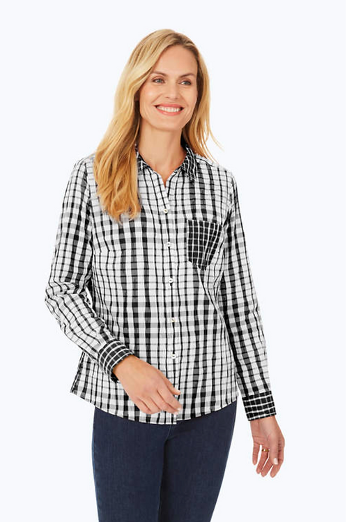 Foxcroft Exagerated Plaid Shirt, Black
