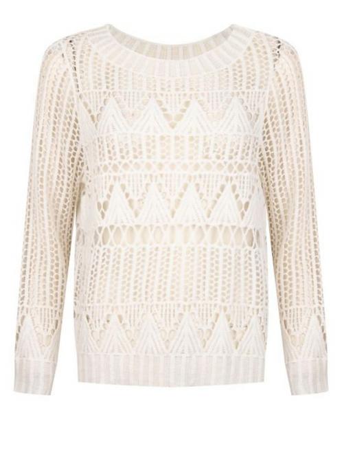 ESQUALO Open Knit Sweater, Off White