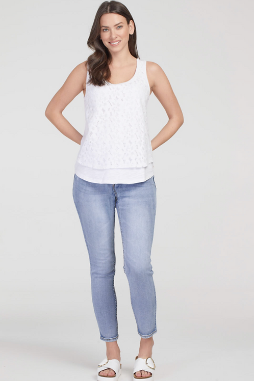 TRIBAL Tank with Lace Overlay, White