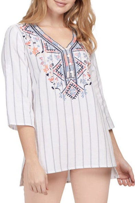 TRIBAL Embroidered Front Tunic Blouse