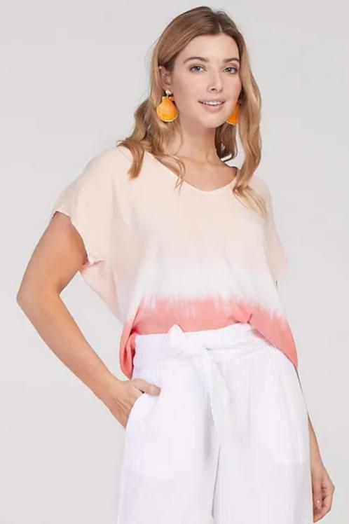 TRIBAL, Dip Dyed Drop Shoulder Top, Peach