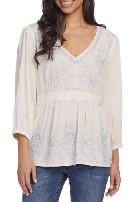 TRIBAL Flowy Embroidered Blouse, Ecru