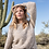 Thumbnail: Tribal Crew Neck Cable Sweater, Natural
