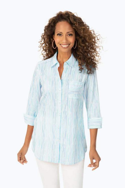 FOXCROFT Ombre Crinkle Stripe Tunic, Blue Multi
