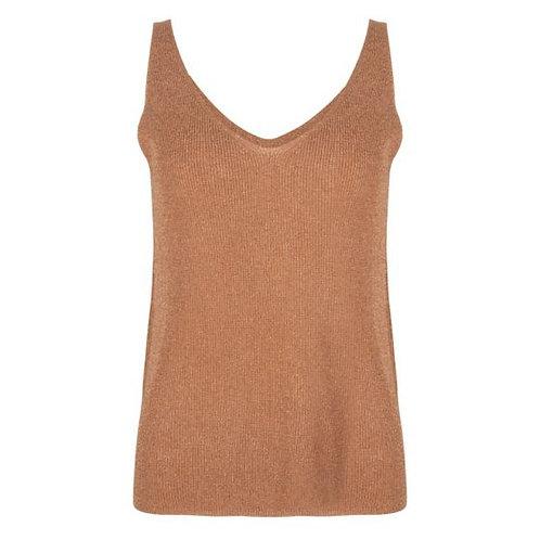 Esqualo V-neck Rib Camisole, Cinnamon