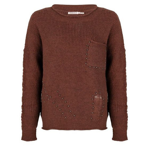 Esqualo Sweater with Chestpocket and Studs, Cinnamon