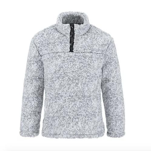 Tribal High Collar Sherpa Henley Top, Grey