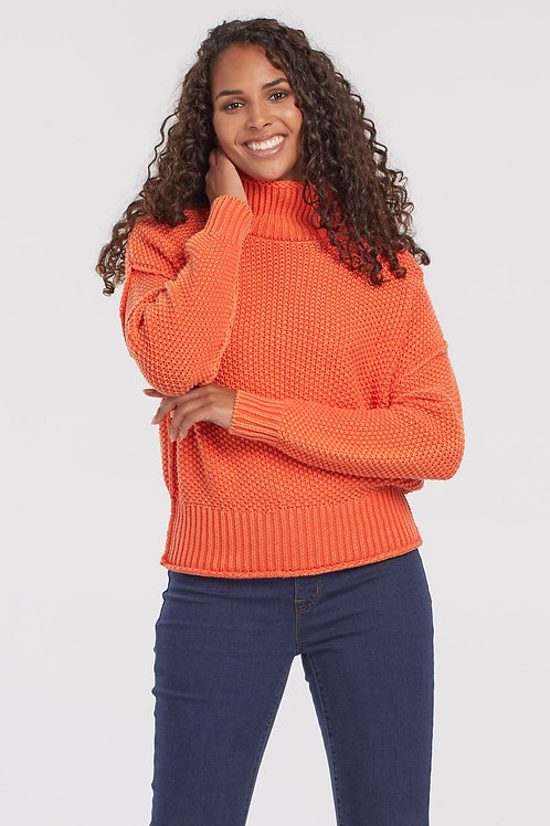Tribal Mock Neck Sweater, Pumpkin