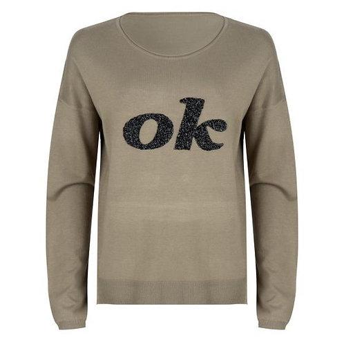 "Esqualo Sequin ""OK"" Sweater, Mermaid Green"