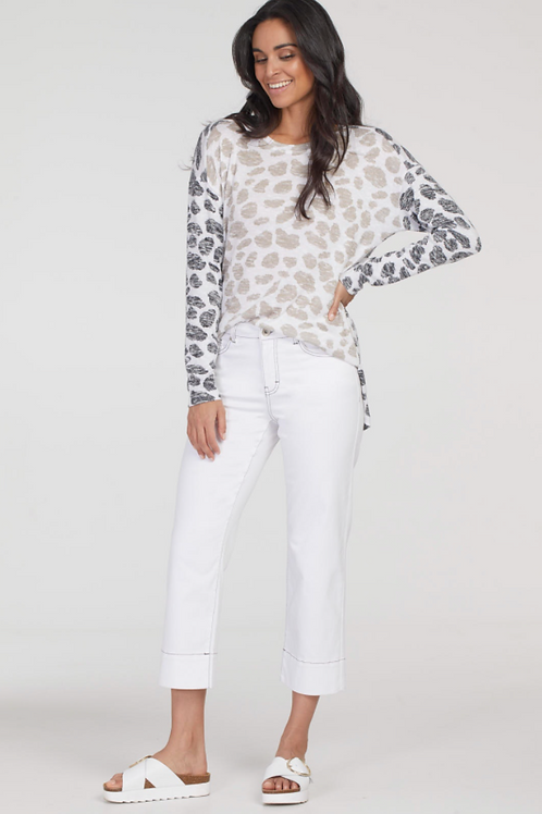 TRIBAL, Long Sleeve Combination Knit Top