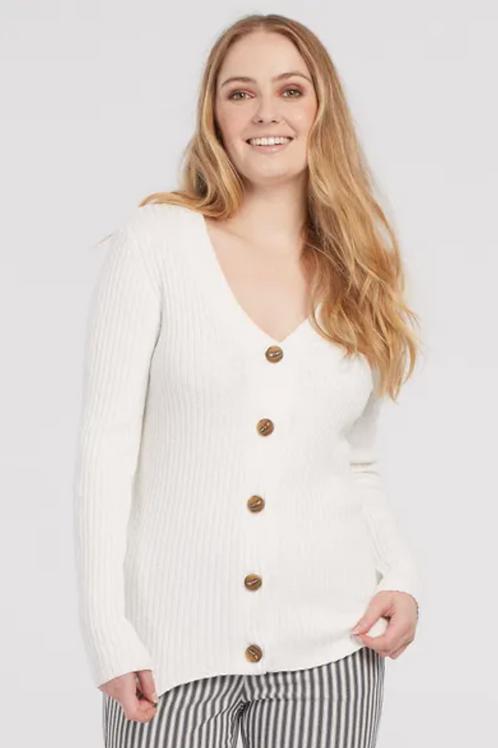 Tribal Ribbed Sweater Cardigan, Cream