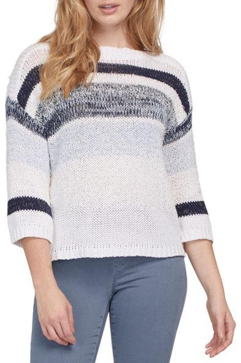 TRIBAL Striped Boatneck Sweater, Powder Blue