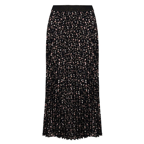 Esqualo Plisse Long Skirt, Mini Paisley