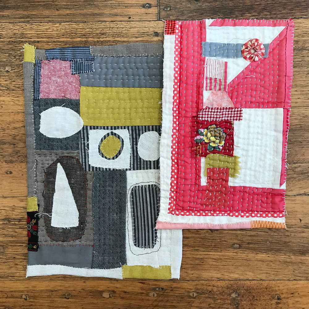 Miniature quilts with stitched details