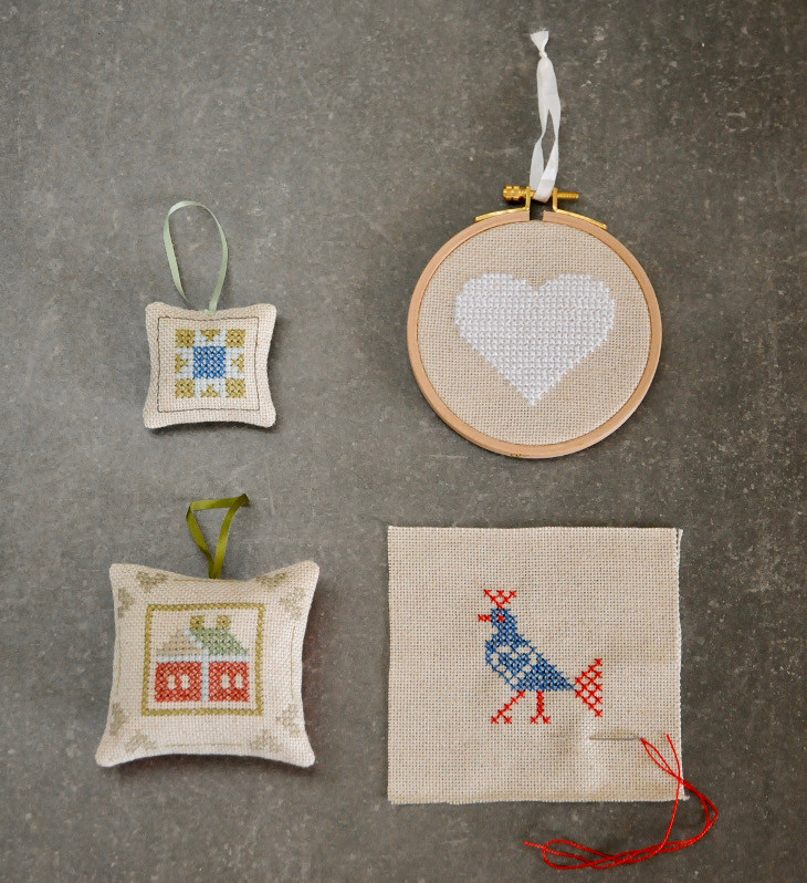 Cross stitch hanging decorations