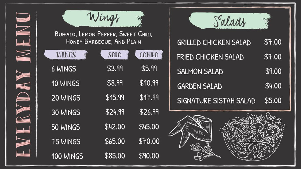 Wings and Salads
