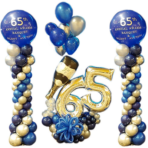 persnalized logo balloon columns champagne blue silver birthday auction annual banquet