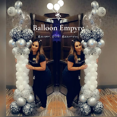 black and white party balloon columns denver colorado near fancy elegant hotel