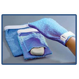 Terry Cloth Antimicrobial Wash Mitt, Pocket, Large, Blue