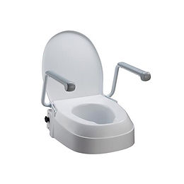 Homecraft Raised Toilet Seat with Armrests, three fixed adjustable seat heights 60mm, 100mm, 150mm