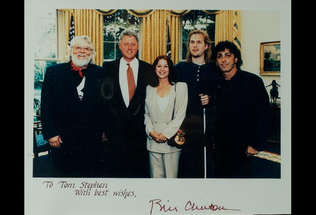 Ronnie Hawkins, President Clinton, Mrs. Hawkins, Jeff & Tom at the White House