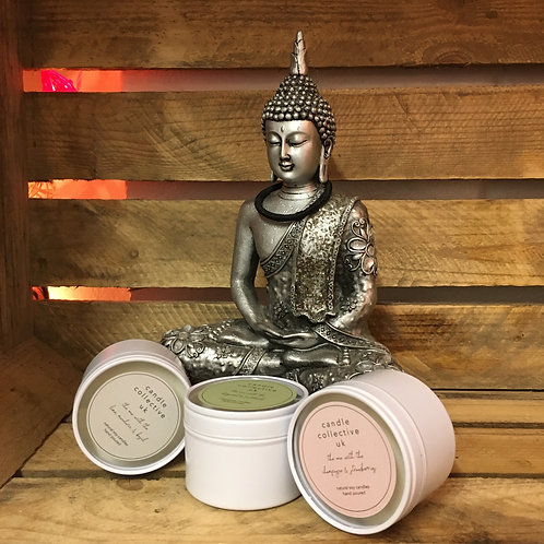 Collection of three Scented candles in tins