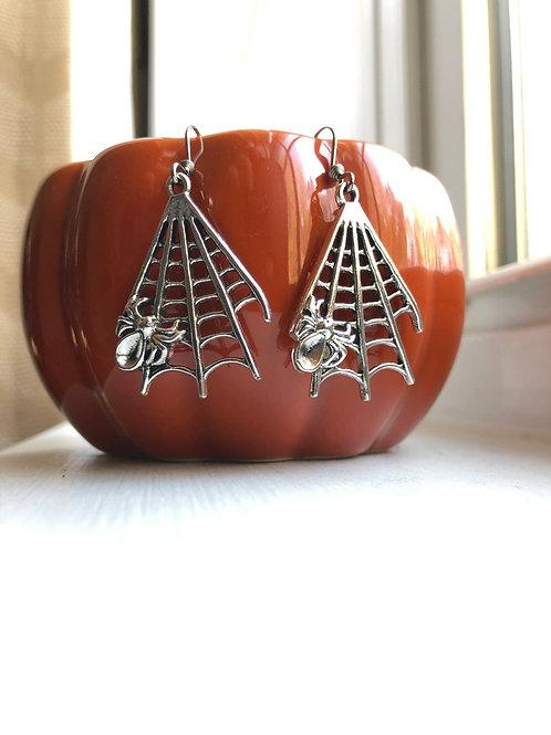 Halloween Spider Web Dangle Earrings