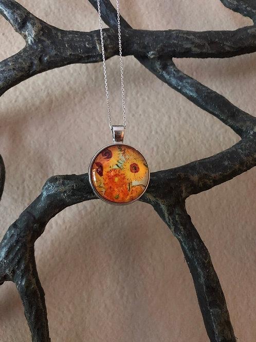 "Van Gogh ""Sunflowers"" Inspired Pendant, Sunflower Jewelry, Sunflower Pendant"