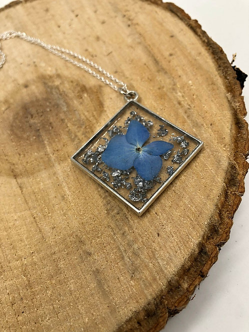 Hydrangea & Silver Flakes Resin Pendant, Floral Jewelry, Resin Jewelry
