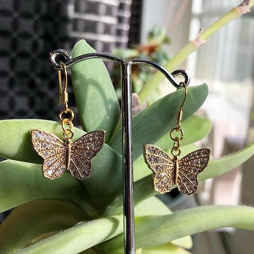 Gold Cubic Zirconia Butterfly Dangle Earrings, Butterfly Earrings