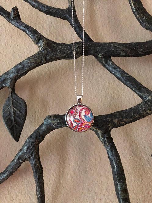 Cute Abstract Pendant, Unique Jewelry, Bold Jewelry, Glass Cabochon Pendant